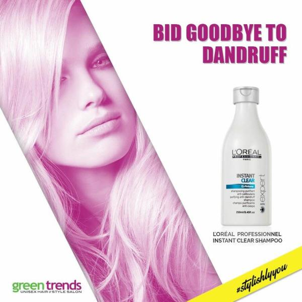 Gently eliminate dandruff while re-balancing your flaky scalp with L'Oréal Professionnel Instant Clear Shampoo.To get L'Oréal shampoo in Madurai contact 0452 4255550 !! - by GREEN TRENDS, Madurai
